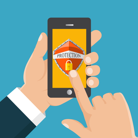 Mobile security app. User touch screen. Flat vector illustration. Hand holds a mobile phone.
