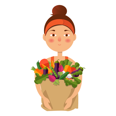 Concept of a healthy lifestyle, delivery, shopping. Vector illustration. A woman is holding a food basket.
