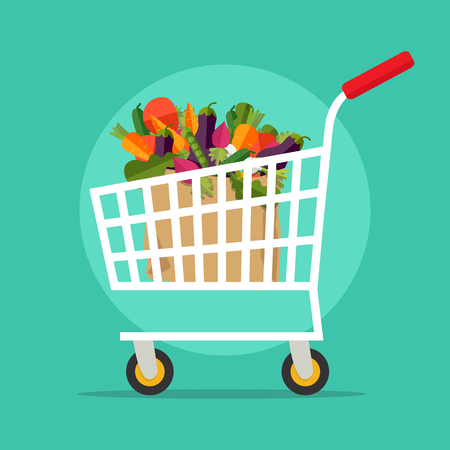 Supermarket shopping cart with fresh vegetables. Shopping, shipping and vegan concept isolated on background. Vector