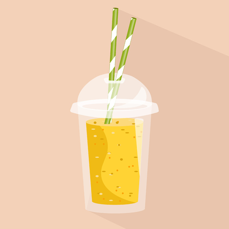 Smoothie with different flavours, take away. Healthy fresh juice fresh. Cartoon smoothie in a transparent plastic glass. Vector illustration
