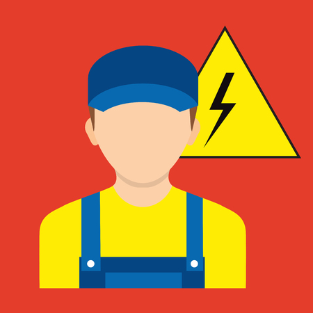 Avatar electrician. Vector illustration. Electrician worker. Icon electric signs of work safety isolated on background.