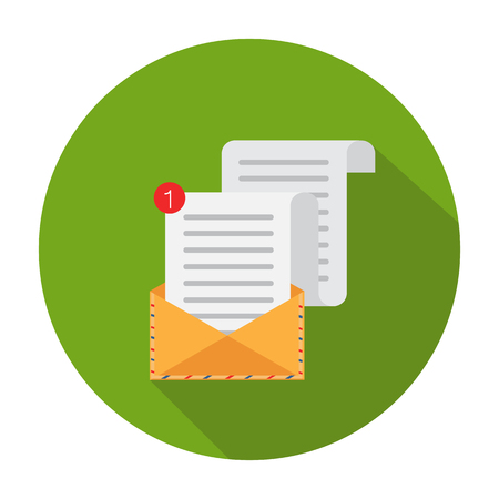 Flat vector cartoon illustration. Open Envelope. Vector illustration. Letter and envelope vector icon. Isolated on a background.  Illustration