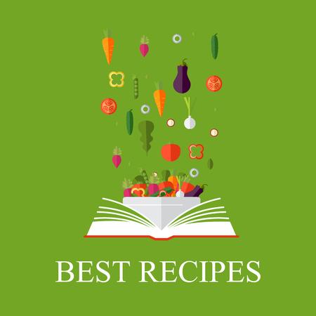 Vegetarisch, gezond eten concept. Vector concept illustratie. Boek met recepten, kookboek, beste recepten. Stock Illustratie
