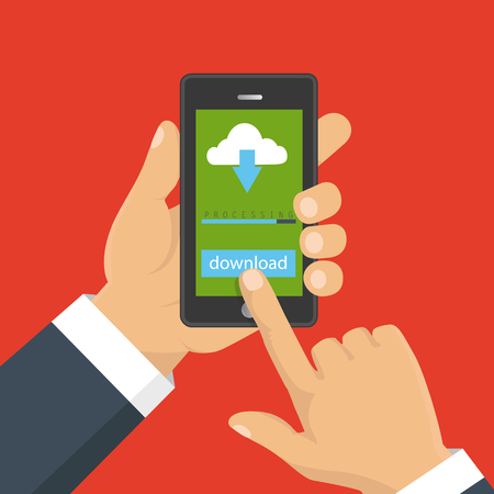 File download concept button on smartphone screen. Hand holds smartphone. Downloading document, infographics. Flat design Illustration