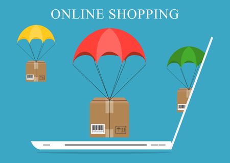 Vector concept of delivery, mobile marketing and online shopping
