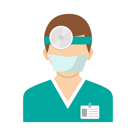 optometry: Flat style illustration. Vector illustration. Ophthalmologist with head mirror. Icon isolated on background.