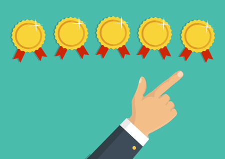 five star: Customer review concept. Vector. Rating golden rewards. Feedback, reputation and quality concept. Hand pointing, finger pointing to five rewards rating. Illustration