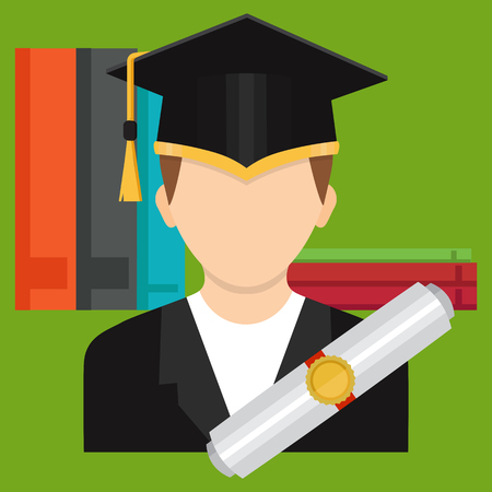 The Concept of Higher Education. A graduate of a college or school in a graduates hat with a certificate, diploma. Vector illustration