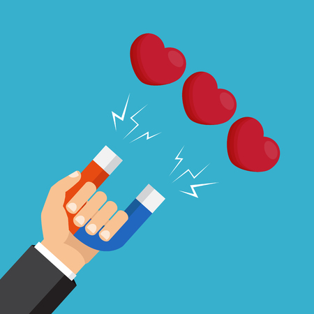 Hand with magnet attracting hearts. Vector illustration. Love attraction concept.