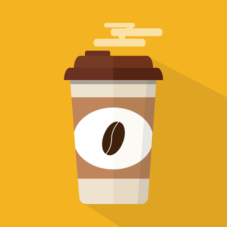 Vector illustration, flat design. Paper coffee cup with coffee beans, isolated on background. Hot coffee to go icon, logo.