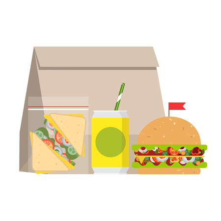 The concept of a healthy lifestyle, losing weight, lose weight. Vector. Lunchbox with healthy food.