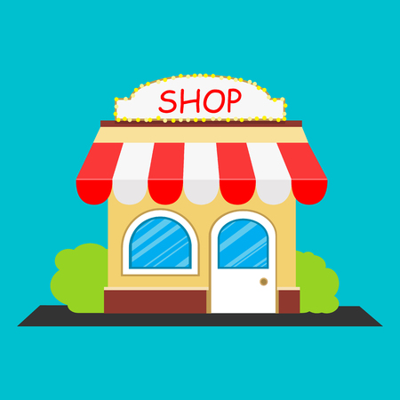 Flat style. Vector. Icon of building facade with signboard, shop store or cafe.
