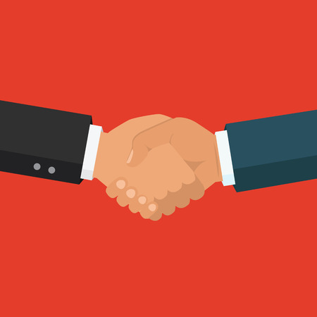 bussiness man: Handshake, business partnership. Symbol of success deal, happy business partnership, agreement. Flat design isolated on background. Vector illustration. Illustration