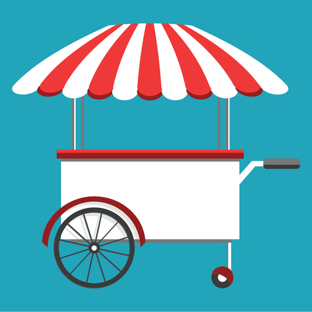 Street food truck, cart selling food and wok dishes. Food festival concept. Isometric icon, vector illustration Vectores