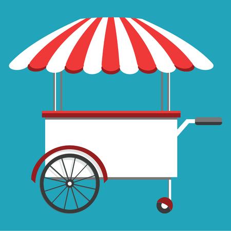 Straatvoedselwagen, kar die voedsel en wokschotels verkoopt. Voedsel festival concept. Isometrisch pictogram, vectorillustratie Stock Illustratie
