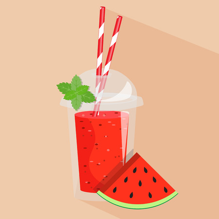Watermelon smoothie take away. Healthy fresh juice fresh. Cartoon smoothie in a transparent plastic glass. Vector illustration Illustration