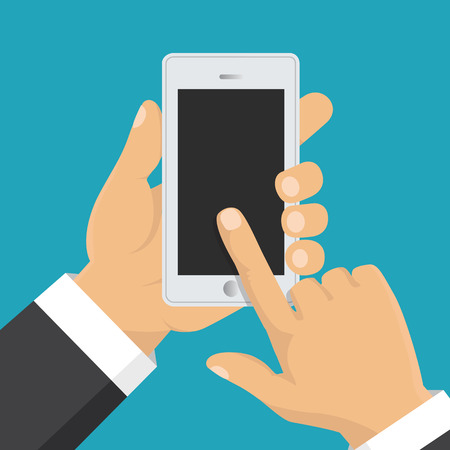 using smartphone: Vector. Hand holding smart phone. Business concept, flat design