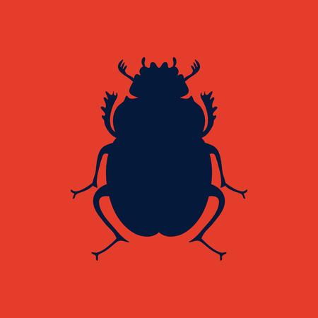 Beetle, egyptian symbol, logo template. Lady bug logo. Vector