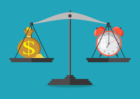 importance: Money and time balance on the scale. Business concept. Vector illustration