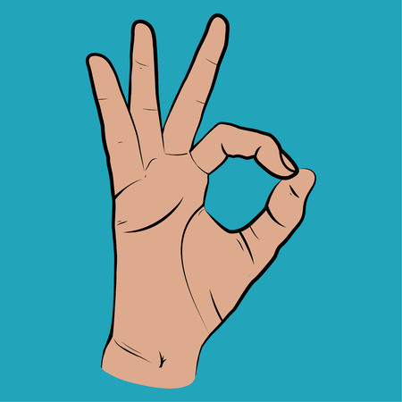 all right: Human hand, OK sight, fingers showing symbol of a great state. Vector isolated sketch style, hand drawn illustration