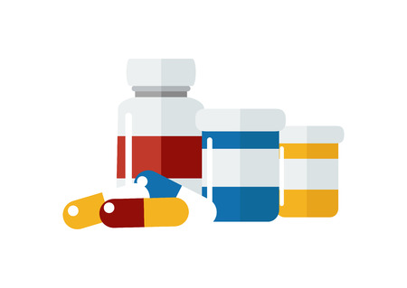 Vector drugs icon, pills, capsules ans prescription bottles. Medicine vector illustration, modern flat cartoon style.