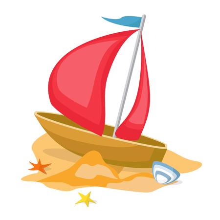 float fun: Vector illustration. 3D shading style icon of kids fishing boat. Illustration
