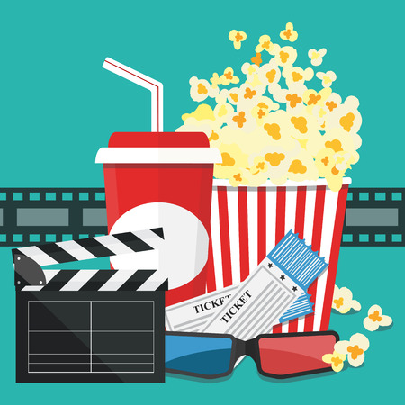 Popcorn and drink. Film strip border. Cinema movie night icon in flat design style. Bright background. Vector illustration Illustration