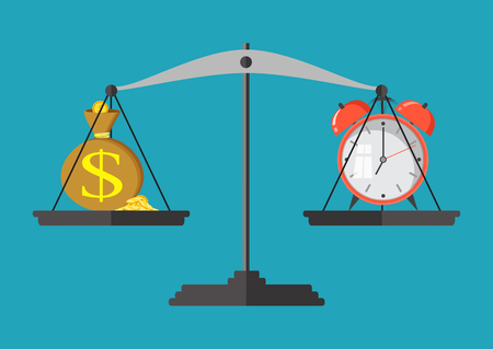 rate of return: Money and time balance on the scale. Business concept. Vector illustration