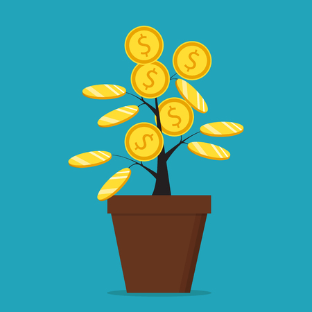 Money tree. The concept of earnings, success in work, money. Vector illustration