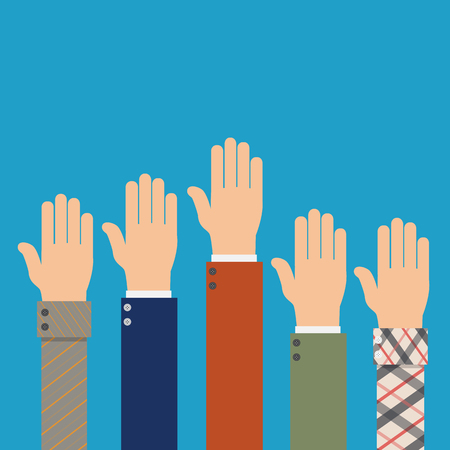 raise hand: Voting hands. Election concept. Vector illustration. Raised up international hands. Illustration