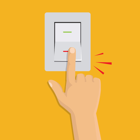 Toggle switch. Electric control concept. Vector graphic design. Isometric icon. Hand turning on the light