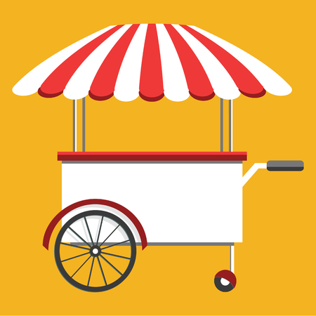 Street food truck, cart selling food and wok dishes. Food festival concept. Isometric icon, vector illustration Illustration