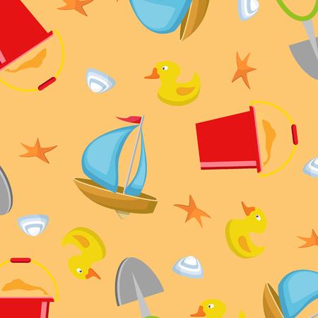 Bright summer toys pattern. Boat, shell, bucket, starfish, scoop, duck. Vector