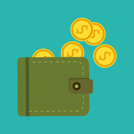 invoices: Vector illustration, icon, flat design. Flat wallet with money, coins and credit card, cash. Illustration