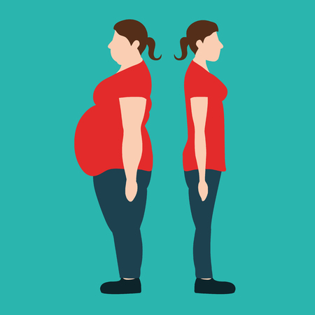 Figures of women thick and thin. weight loss concept. Vector illustration