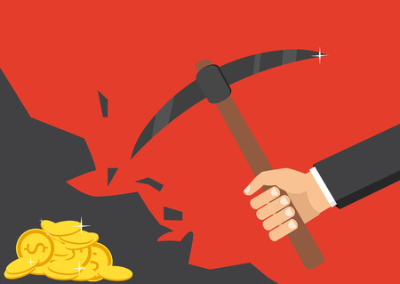 The concept of money, earnings, success. Vector illustration. The hand of a businessman dips a rock, searching for a treasure.
