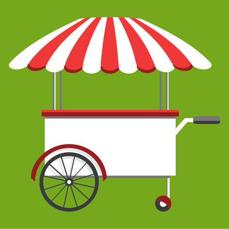 sandwich board: Street food truck, cart selling food and wok dishes. Food festival concept. Isometric icon, vector illustration Illustration