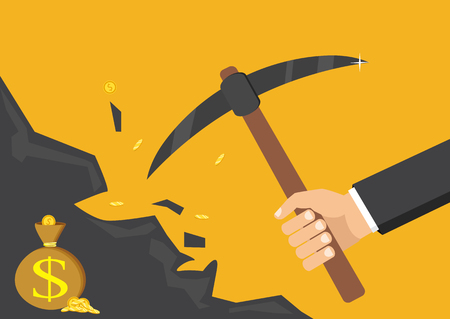 dug: The concept of money, earnings, success. Vector illustration. The hand of a businessman dips a rock, searching for a treasure.