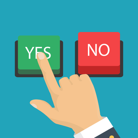 Hand, finger pressing buttons no or yes. Vector illustration. The concept of choice, the right choice and a wrong decision. Illustration