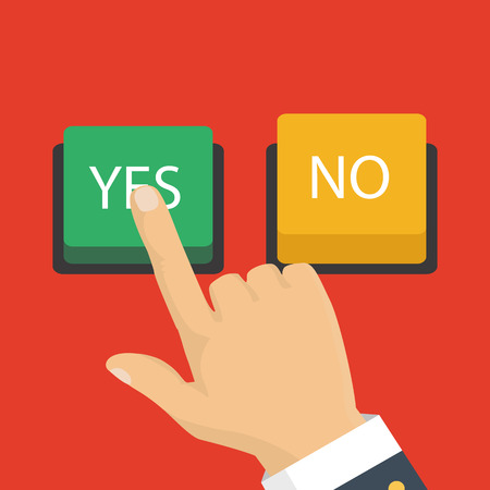 Hand, finger pressing buttons no or yes. Vector illustration. The concept of choice, the right choice and a wrong decision. Stock Vector - 81717608