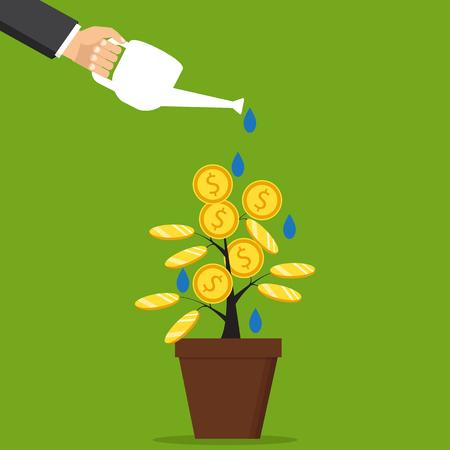 Het concept van inkomsten, succes in werk, geld. Vector illustratie. De hand van een zakenman die een geldboom giet. Stock Illustratie