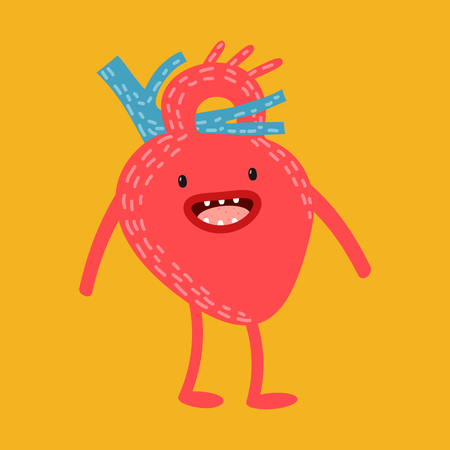 The concept of health and medicine, a healthy lifestyle. Vector. Cartoon human organs, which runs the medicine. Illustration