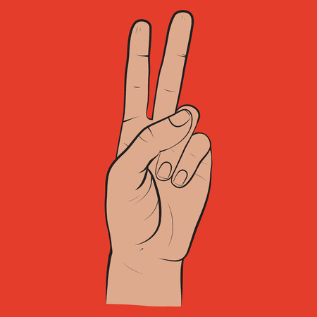 Human hand, showing two fingers sight, fingers showing symbol of peace. Vector isolated sketch style, hand drawn illustration. Peace, victory icon Illustration
