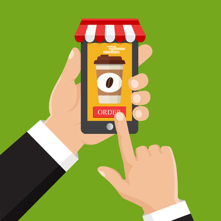 Order food online. Vector illustration. Hand holding smartphone with coffee cup on the screen.