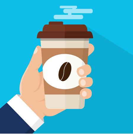 Koffietijd, koffiepauze. Geïsoleerde vectorillustratie. Hand met een kop warme drank.