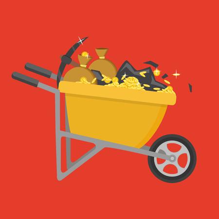 Cartoon vector flat style illustration. Wheelbarrow full of coins and soil. Illustration