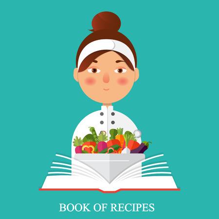 Flat vector color illustration. Restaurant menu design. Chef holding recipe cookbook. Illustration