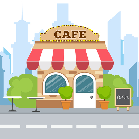 Colorful cafe isometric restaurant building. Cartoon vector icon. Flat isometric design. Ilustração