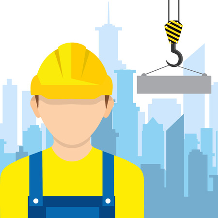 Worker wearing hard hat. Vector. Construction worker, builder icon isolated on background. Illustration