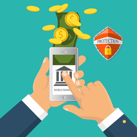electronic commerce: Concept for mobile banking and online payment. Vector flat illustration. Flat cartoon style. Send money via smartphone